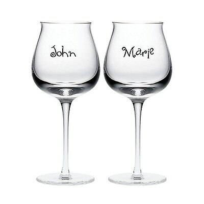2x personalised wine glass vinyl sticker wedding gift engagement party present