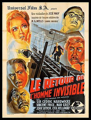 INVISIBLE MAN RETURNS * CineMasterpieces HORROR FRENCH FRANCE MOVIE POSTER 1947