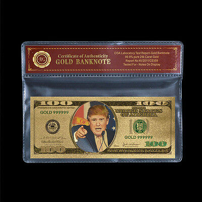 WR US Note Donald Trump President of America 24k Gold Banknote Collection Note