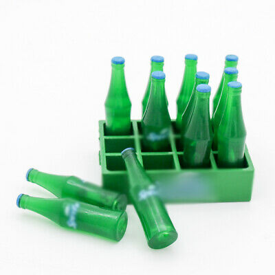 1:12 Miniature 12pcs Bottle in Tray  Drink Beverages Dollhouse Decor Gift