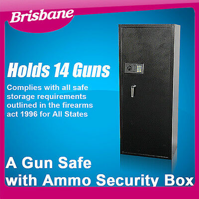 **QLD PICKUP** 14 Guns Heavy Duty Rifle Storage Locker with Ammo Box