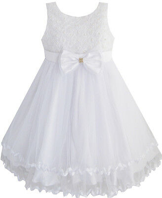 Girls Dress White Pearl Tulle Layers Wedding Pageant Flower Girl Kids Size 2-10