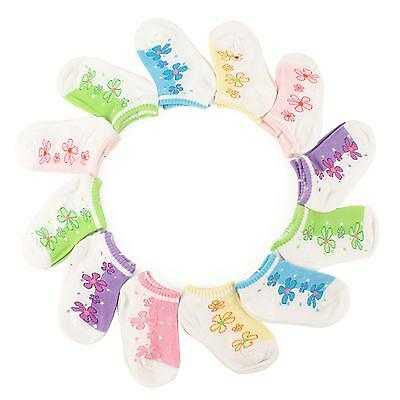12 Pairs Floral Girls Dress Casual Socks Kids Assorted Baby Toddler Ages 2-3