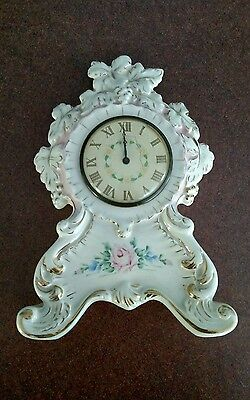 Lux Clock Mfg.   Vintage Hand Painted Ceramic Mantel Clock Made In Usa