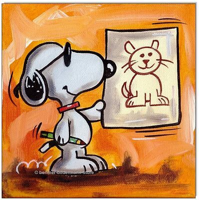 KLAUSEWITZ:ORIGINAL ACRYL GEMÄLDE LEINWAND : SNOOPY HAS DRAWN A CAT /20x20 cm