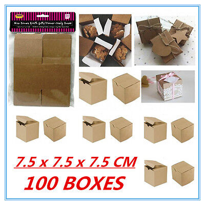 100 Pack Mini Small Brown Kraft Paper Gift Boxes Candy Lolly Party Favour F