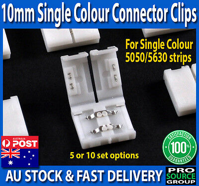 10mm 2-Pin Single Colour End Connector Clips for 5050 5630 LED Strip lights
