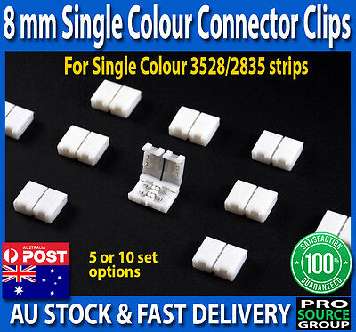 8mm End Clip Connector for Single Colour 2 Pin 3528 LED Strip Light - No solder