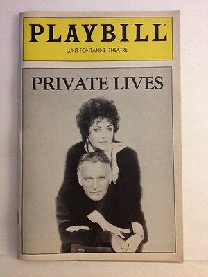 Playbill Private Lives at Lunt-Fontanne Theatre May 1983! Elizabeth Taylor!