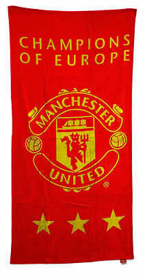 Manchester United MUFC Champions Of Europe 100% Cotton Towel Official Product