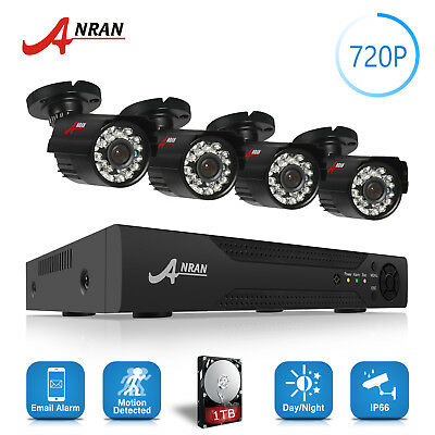 ANRAN AHD 1080N 4CH DVR Video 720P 1800TVL IR CCTV Camera Security System Kit