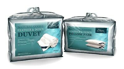 King Bed Size Goose Feather & Down Duvet Quilt + 2 Pillows, Pure Cotton Casing