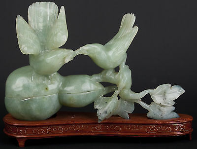 China 20. Jh. A Chinese Carved Hardstone Box & Cover - Giada Cinese Chinois Jade
