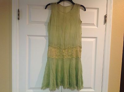 Antique Vtg 1920s Auth Flapper Sheer Green Embroidered Floral Lace Dress Small