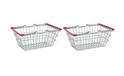 2 x Steel Wire Shopping Basket with Handles Kids Mini Food Pretend Role Play Toy