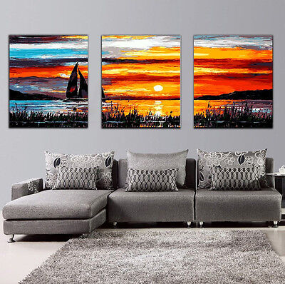 """DIY 20X20"""" Acrylic Paint By Number On Canvas Three Parts Kit Sailboat  289"""