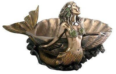Mermaid Soap Dish Statue Nautical Decor Trinket or Bathroom Soap Bowl #7774