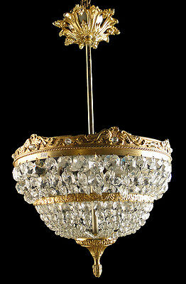 Antique french empire style Solid bronze and crystal chandelier (4)