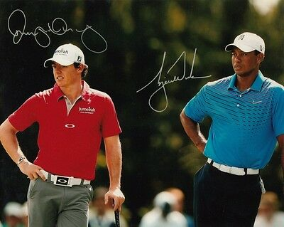 RORY MCLLROY TIGER WOODS GOLF OPEN CHAMPION SIGNED 10x8 INCH LAB PRINTED PHOTO