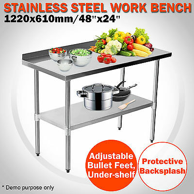 1220 x 610mm Stainless Steel Work Bench Kitchen Backsplash Catering Table 2x4FT