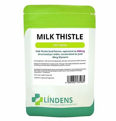 Milk Thistle (equivalent to 2000mg) - 120 Tablets - Detox, Lindens UK MADE