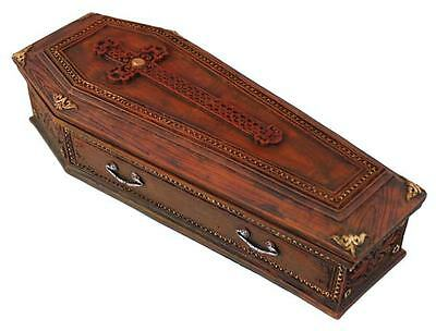 "New Wicca Pagan 8"" Collectible Detailed In & Out Resin Cross Coffin Trinket Box"