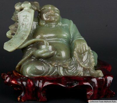 China 20. Jh. Jade - A Chinese Jadeite Seated Figure of Budai Giada Cinese Chine