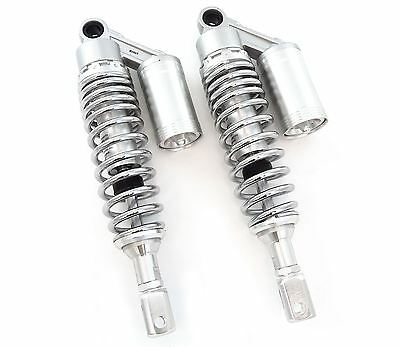 Silver & Chrome Adjustable Remote Reservoir Shocks - Eye To Clevis - 320mm 330mm