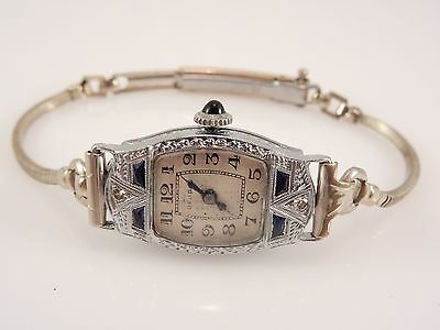 Art Deco Benrus 14k White Gold Watch Sku 6.7.30.1
