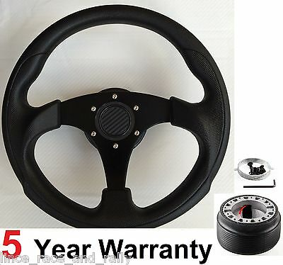 300Mm Small Steering Wheel & Boss Kit Hub Fit Classic Austin Rover Mini Black