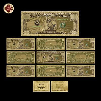 Lot/10pcs Colored $1 Million Dollar Bills Fine 24k Gold US Banknote Collectible