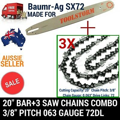 "20"" Bar And 3 Chains 3/8 72Dl .063"" Combo For Baumr-Ag Chainsaw Sx72"