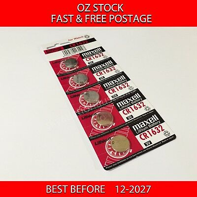 5x MAXELL CR1632 3v lithium Battery button cell/coin for watch remote FAST POST