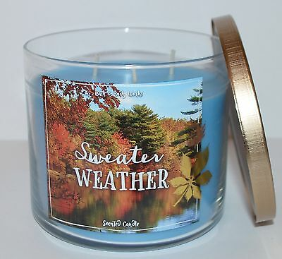 New Bath & Body Works Sweater Weather Scented Candle 3 Wick 14.5 Oz Large Blue