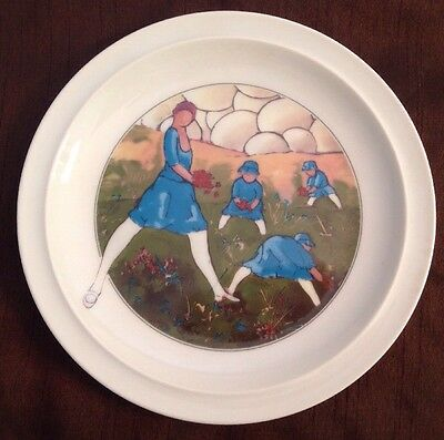 """Toscany Collection Samfaola Plate Girls In Flowers Leaves. 7.5"""""""