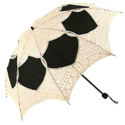 Lotte Folding Lace Parasol - Cream/Black