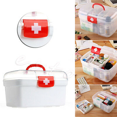 Clear Plastic 2 Layers Health Pill Medicine Chest First Aid Kit Case Storage Box