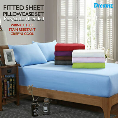 POLY COTTON 3 Piece Bed Fitted Sheet + Pillowcase Set ALL SIZE