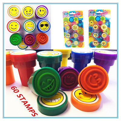 60 X Emoji Series Fun Stamps - Smiley Face- Birthday Party Gift Loot Bag Kids Fw