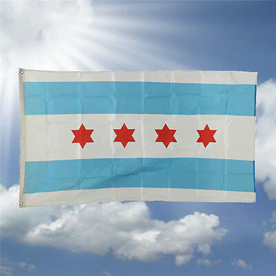 Hot Design 3'x5' Ft Chicago City Illinois IL Flag Polyester Grommets American