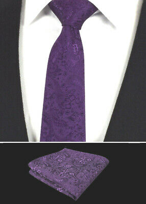 Mens Tie Handkerchief Set Wedding Necktie Hanky Purple Paisley Gift Floral
