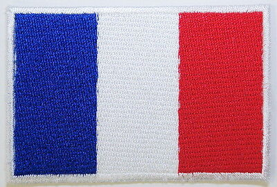 "FRANCE FLAG EMBLEM PATCH SEW ON EASY TO USE 2""x3"""