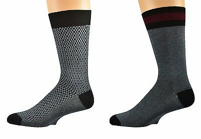 Sierra Socks Men's Bamboo 2 Pair Pack Patterned Dress casual Socks M1032TWO 1008