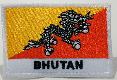 "BHUTAN - FLAG EMBLEM PATCH SEW ON EASY TO USE 2""x3"""