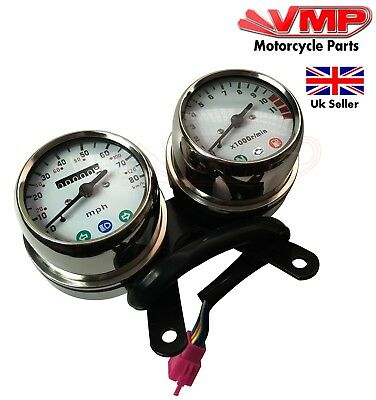 Cafe Racer Project Classic Custom Motorcycle Bike Stainless Speedo Rev Clock