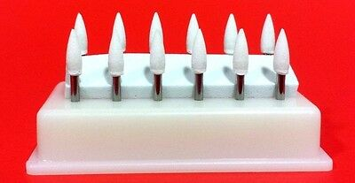 Flame Mounted White Stone Dental Polishing Burs- FG 12/pk Abrasion Point Bur