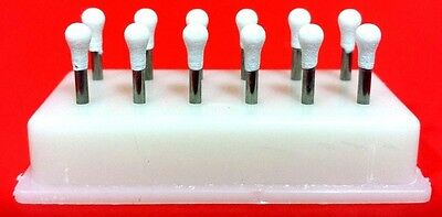 Round Mounted White Stone Dental Polishing Burs -FG 12/pk Abrasion Points Bur