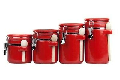 Home Basics NEW Red 4PC 4 Piece Storage Canister Ceramic Set Spoon - CS44155