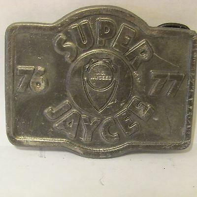 Vintage Super Jaycees Presentation Belt Buckle Pewter 1977
