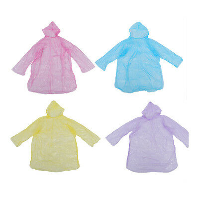 10Pcs Disposable Hooded Poncho Emergency Raincoat Adult Travel TS